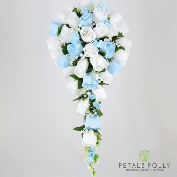 Wedding Flowers Teardrop Bridal Bouquet in Pale Blue and Ivory