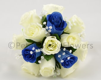 Artificial Wedding Flowers, Royal Blue & Ivory Bridesmaids Bouquet Posy