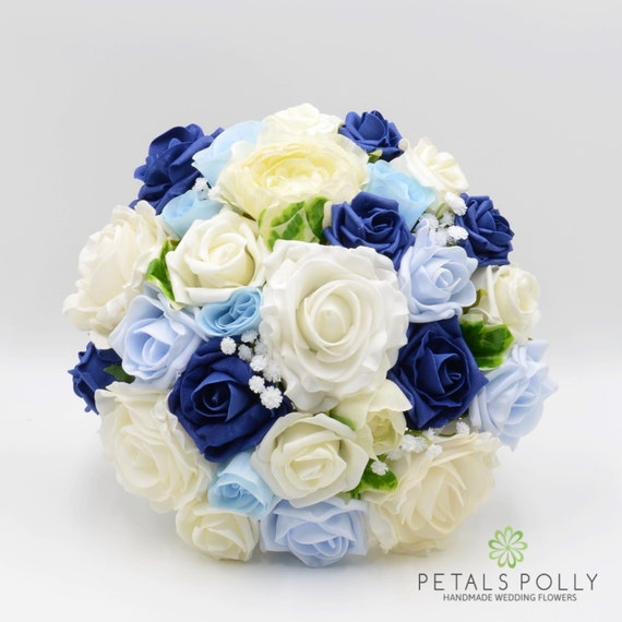 Kunstliche Hochzeitsblumen Hellblau Marine Blau Elfenbein Etsy