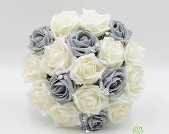 Artificial Wedding Flowers, Grey & Ivory Bridesmaids Bouquet Posy