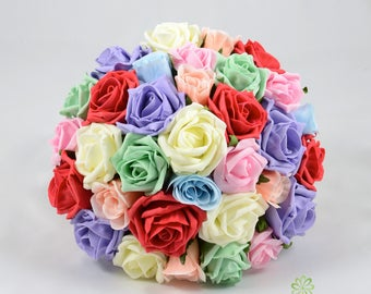 Artificial Wedding Flowers, Multi-coloured Rose Brides Bouquet Posy