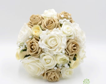 Artificial Wedding Flowers, Cappuccino & Ivory Rose Bridesmaids Bouquet Posy with Ranunculus