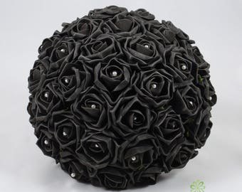 Artificial Wedding Flowers, Black Rose Brides Bouquet Posy