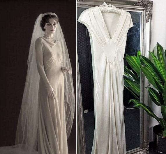 Wedding Dress  Satin Dress  1930s Style Wedding Dr