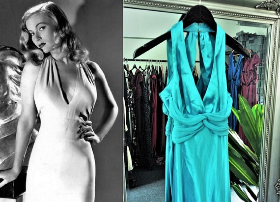 Blue Dress  Satin Dress  Halter Neck Dress  Bias C