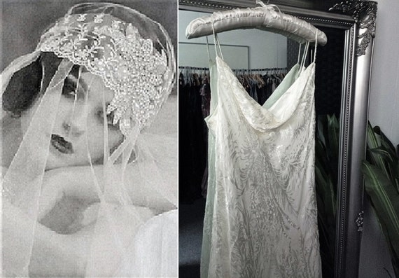 1930s Style Wedding Dress  Ivory Silk Dress  Cowl
