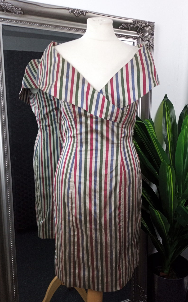 Silk Dress  Wiggle Dress  Stripy Dress  Bardot Dress  1950s Style Dress  Vintage Wiggle Dress  Silk Wiggle Dress  Off The Shoulder Dress