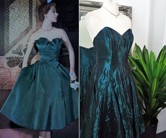 Vintage Ball Gown  Satin Dress  1950s Style Dress