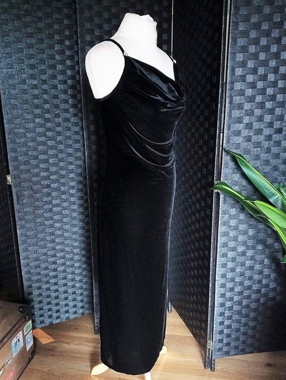 Velvet Dress  Cowl Neck Dress  Black Dress  Black… - image 4