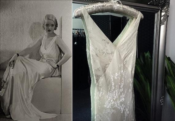 1930s Style Wedding Dress  Ivory Silk Dress  Bias