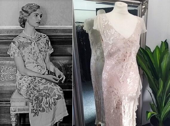 Silk Dress  Devore Dress  Gold Dress  Bias Cut Dre
