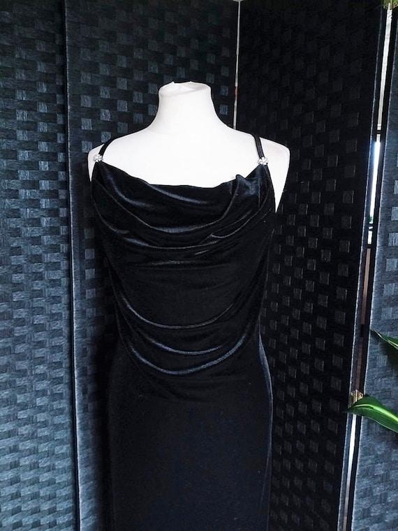 Velvet Dress  Cowl Neck Dress  Black Dress  Black… - image 2