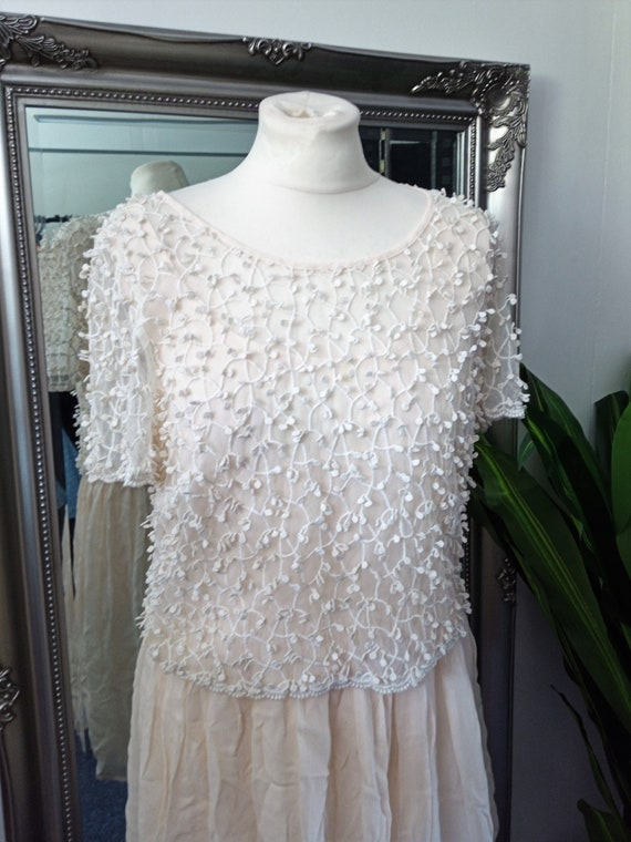 Crochet Dress  Lace Dress  Cream Dress  Vintage L… - image 2