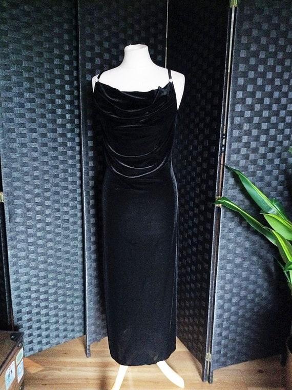 Velvet Dress  Cowl Neck Dress  Black Dress  Black… - image 8