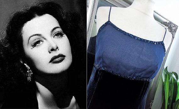 Blue Dress  Velvet Dress  Blue Velvet Dress  Beade