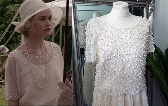 Crochet Dress  Lace Dress  Cream Dress  Vintage L… - image 1