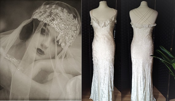 1930s Style Wedding Dress  Ivory Silk Dress  1930s