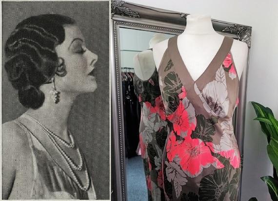 Silk Dress  Bias Cut Dress  Silk Print Dress  Flor