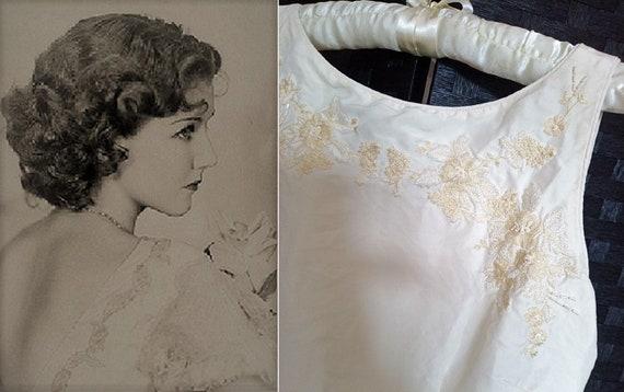 Silk Wedding Dress  Vintage Wedding Dress  Beaded