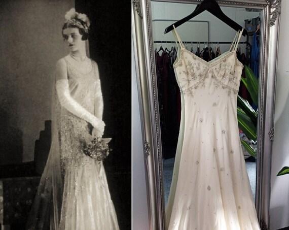 Wedding Dress  Bias Cut Dress  Beaded Dress  Vinta