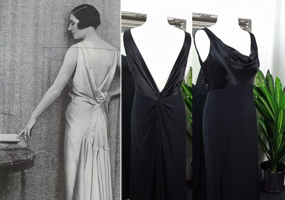 Black Dress  Satin Dress  1920s  1930s Style Dress