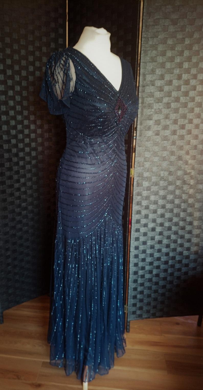 Flapper Dress  Gatsby Dress  1920s Style Dress  1930s Style Dress  Downton Abbey Dress  Sequin Dress  Peaky Blinders Dress  Navy Blue Dress