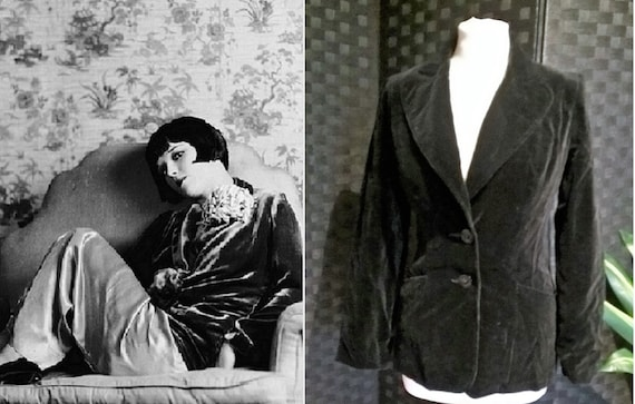 Velvet Jacket  Black Velvet Jacket  Vintage Velvet