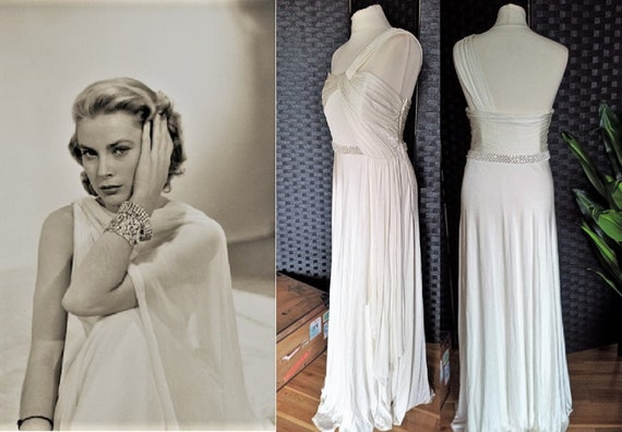 Vintage Wedding Dress  Grecian Wedding Dress  Old