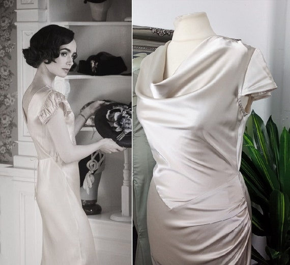 Cowl Neck Dress  Satin Dress  Champagne Satin Dres