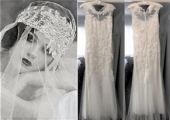Wedding Dress  Vintage Wedding Dress  Beaded Weddi