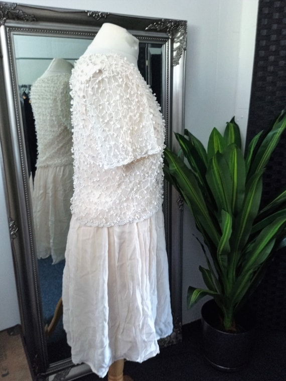 Crochet Dress  Lace Dress  Cream Dress  Vintage L… - image 5