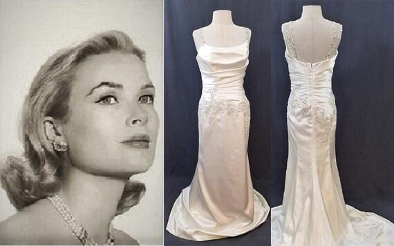 Vintage Wedding Dress  Satin Wedding Dress  Beaded