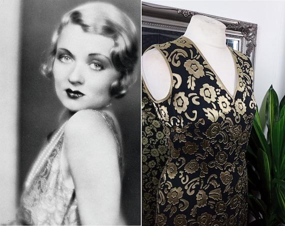 Gold Dress  Silk Dress  Devore Dress  Burnout Dres