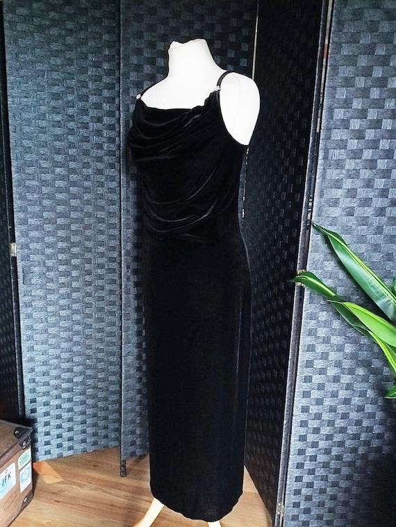 Velvet Dress  Cowl Neck Dress  Black Dress  Black… - image 6