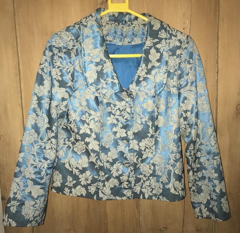 Silk Jacket  Downton Abbey Jacket  1920s Style Jacket  Silk Blend Jacket  Cropped Jacket  Blue Jacket  Floral Jacket  Short Jacket
