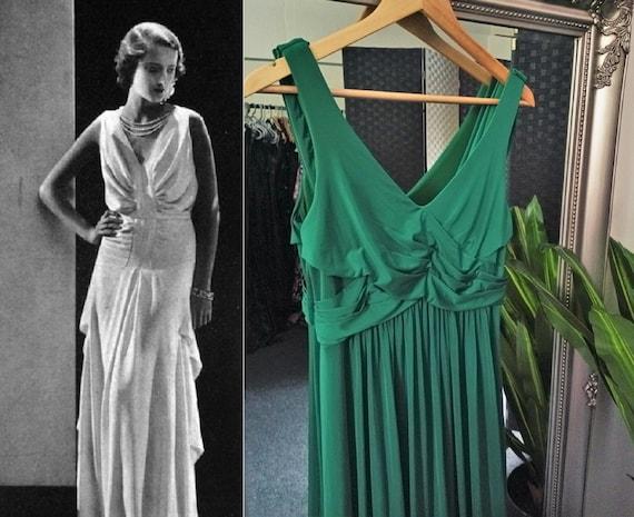 Green Dress  Grecian Dress  Cowl Neck Dress  Long