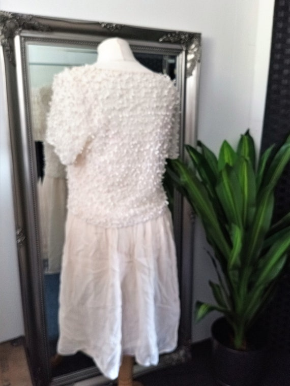Crochet Dress  Lace Dress  Cream Dress  Vintage L… - image 7