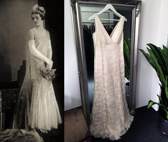 Wedding Dress  Vintage Wedding Dress  Silk Wedding