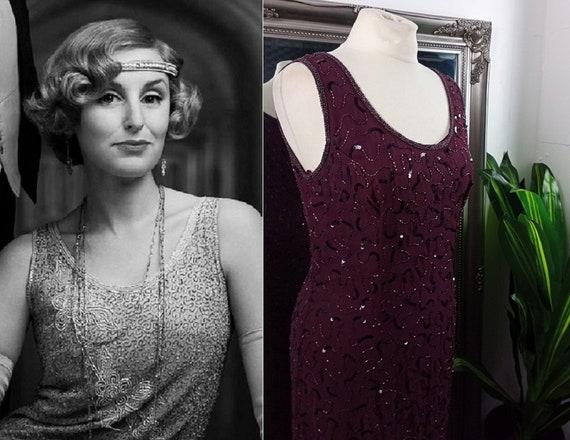 Flapper Dress  Beaded Dress  Sequin Dress  Purple
