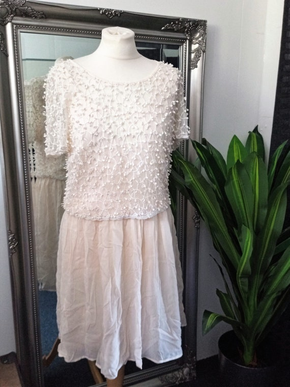 Crochet Dress  Lace Dress  Cream Dress  Vintage L… - image 3