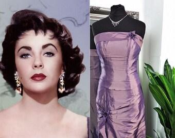 Strapless Dress  Taffeta Dress  Prom Dress  Ball Gown  Taffeta Ball Gown  Vintage Ball Gown  Mermaid Dress  Lilac Dress  1950s Style Dress