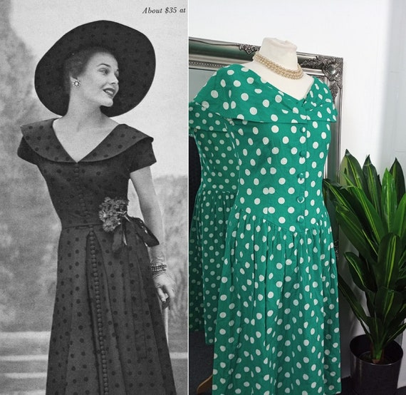Polka Dot Dress  Green Dress  1950s Style Dress  C