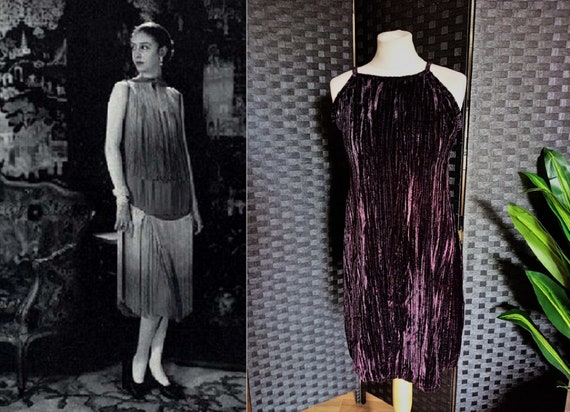 Velvet Dress  Purple Dress  1920s Style Dress  Pur