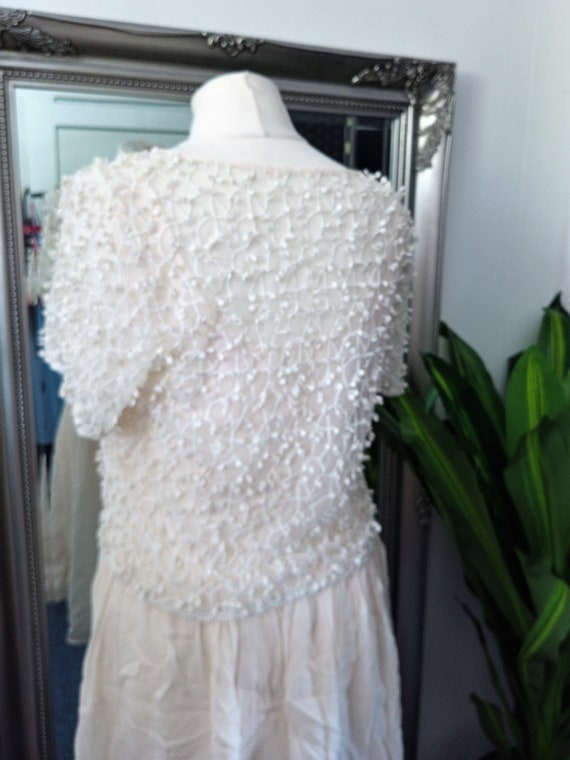 Crochet Dress  Lace Dress  Cream Dress  Vintage L… - image 6