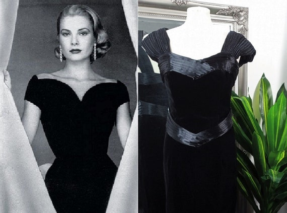 Velvet Dress  Black Velvet Dress  Vintage Ball Gow