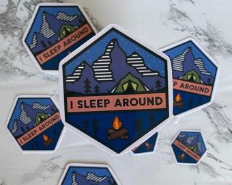 "Funny ""I Sleep Around"" Camping Sticker"