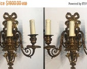 Pair Artdeco Vintage Sconces, Antique Ribbon Cast Bronze Wall Lights, Crystal Sconces, Wiring comp USA, Free Shipping USA Etsy