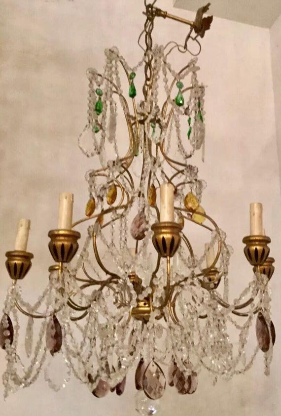 Murano Glass Chandelier, Vintage Crystal Macaroni Beaded Chandelier, Murano Pendant Light, Wiring Comp USA, Free Shipping USA | Etsy