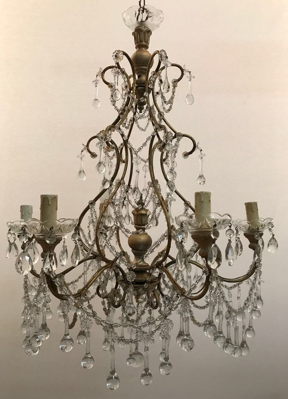 Wiring Comp USA Italian Crystal Beaded Chandelier Etsy Antique Vintage Iron Crystal Chandelier Free Shipping USA