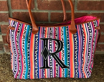 e1b4b3b01b97 Serape Leopard Tote, mothers day gift, graduation gift, bridesmaid tote,  birthday gift, beach tote, overnight bag, colorful tote, christmas